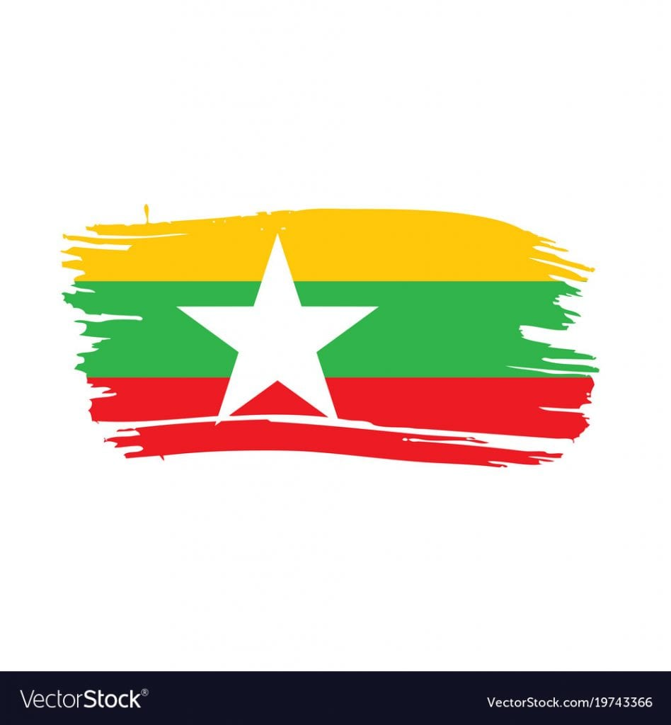 Myanmar flag, vector illustration
